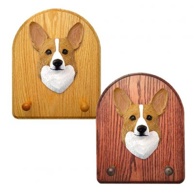 Welsh Corgi Pembroke Dog Wooden Oak Key Leash Rack Hanger Blonde 1