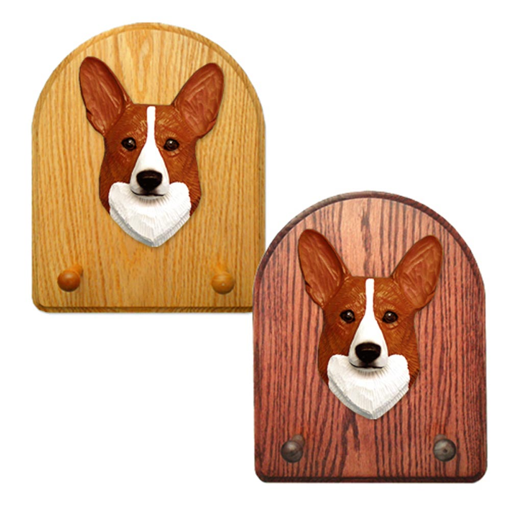 Welsh Corgi Pembroke Dog Wooden Oak Key Leash Rack Hanger Red