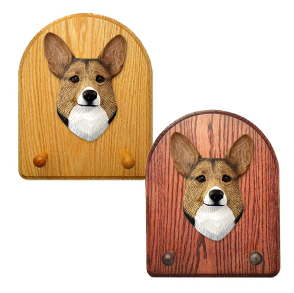 Welsh Corgi Pembroke Dog Wooden Oak Key Leash Rack Hanger Sable
