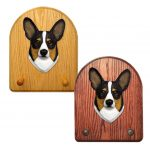 Welsh Corgi Pembroke Dog Wooden Oak Key Leash Rack Hanger Tri