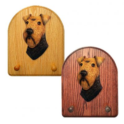 Welsh Terrier Dog Wooden Oak Key Leash Rack Hanger 1