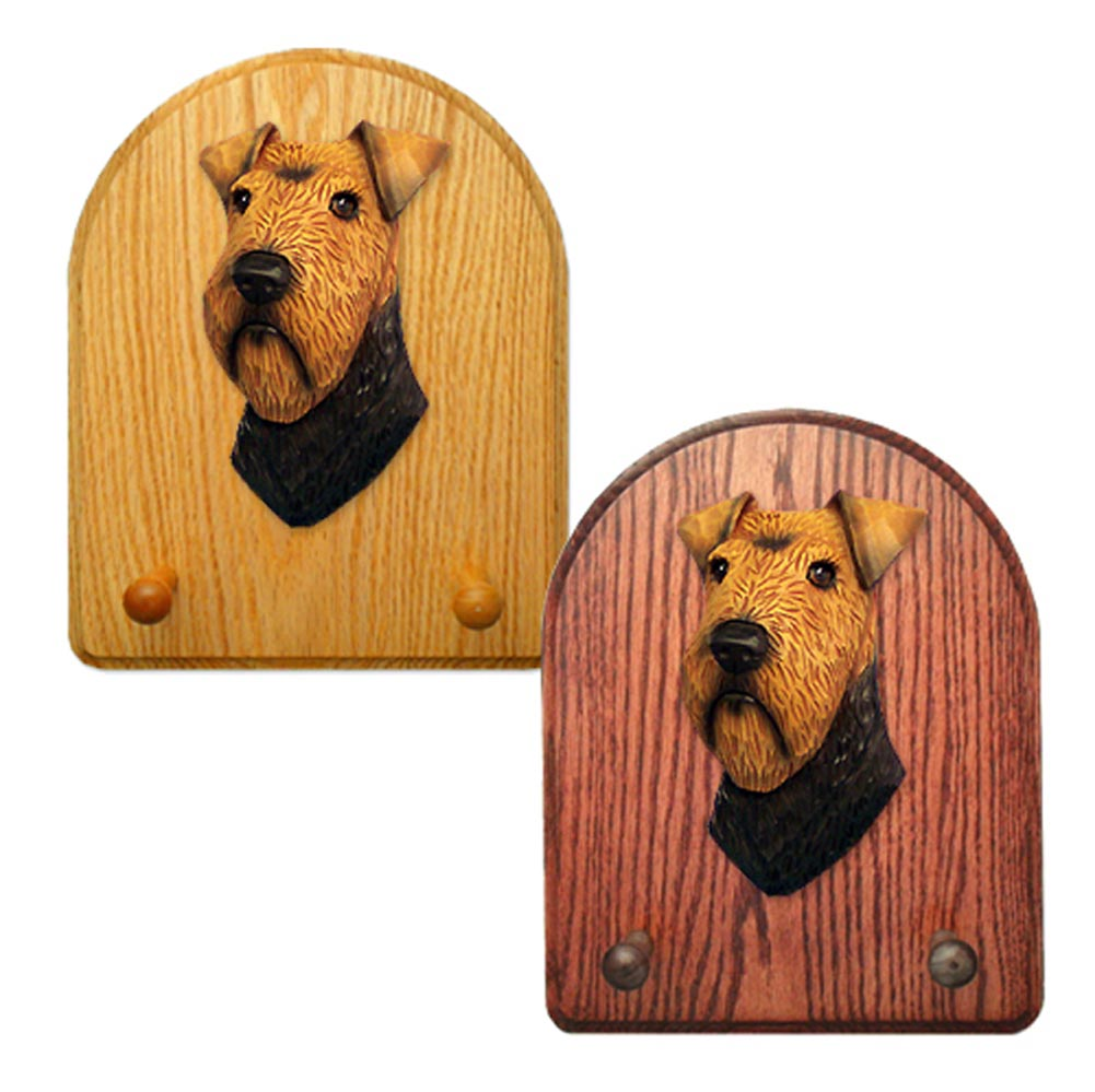 Welsh Terrier Dog Wooden Oak Key Leash Rack Hanger