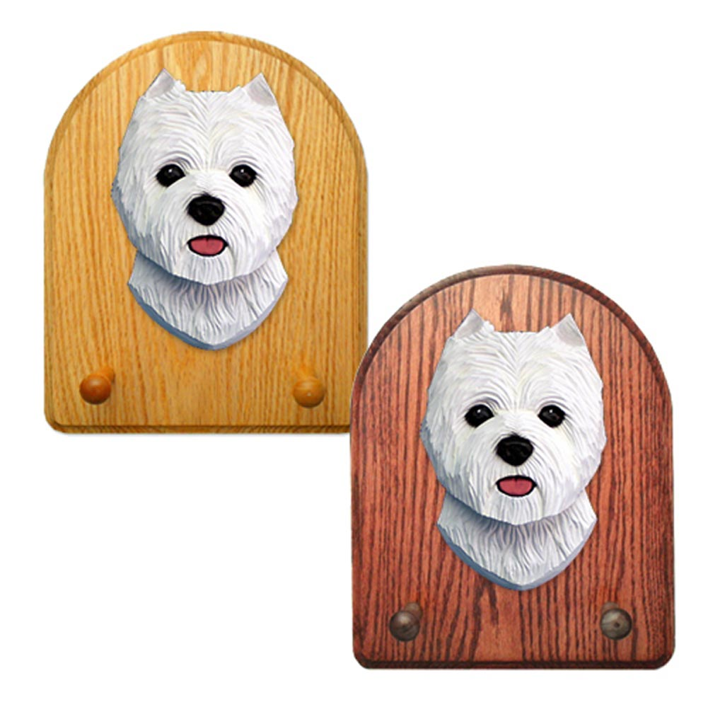 West Highland Terrier Dog Wooden Oak Key Leash Rack Hanger