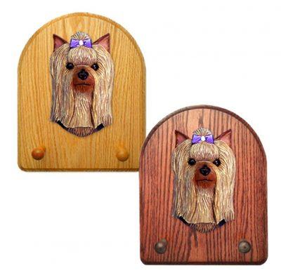 Yorkshire Terrier Dog Wooden Oak Key Leash Rack Hanger 1