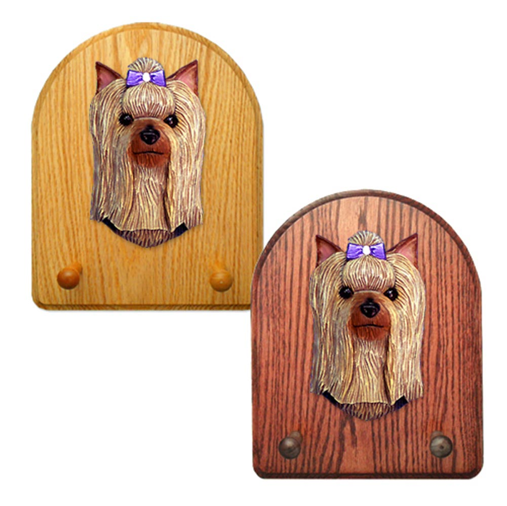 Yorkshire Terrier Dog Wooden Oak Key Leash Rack Hanger