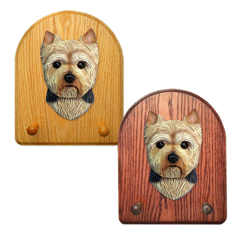 Yorkshire Terrier Dog Wooden Oak Key Leash Rack Hanger Puppy Cut