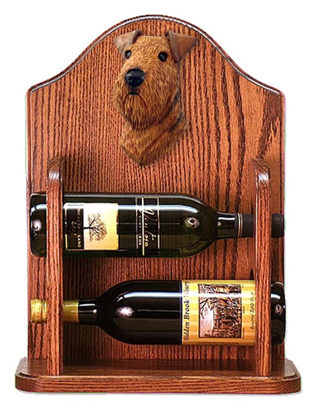 Airedale Dog Wood Wine Rack Bottle Holder Figure