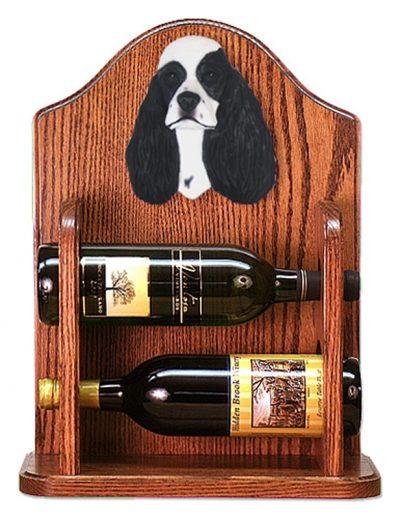 Cocker Spaniel Dog Wood Wine Rack Bottle Holder Figure Blk Parti 1