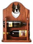 Staffordshire Terr Dog Wood Wine Rack Bottle Holder Figure Brin/Wht