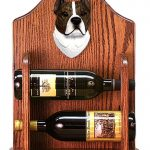 Staffordshire Terr Dog Wood Wine Rack Bottle Holder Figure Brin/Wht 1