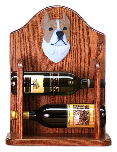 Staffordshire Terr Dog Wood Wine Rack Bottle Holder Figure Fawn/Wht 1