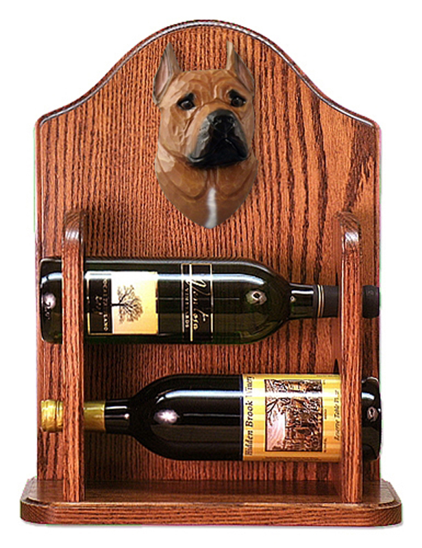 Staffordshire Terr Dog Wood Wine Rack Bottle Holder Figure Red