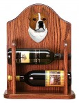 Staffordshire Terr Dog Wood Wine Rack Bottle Holder Figure Red/Wht
