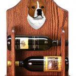 Staffordshire Terr Dog Wood Wine Rack Bottle Holder Figure Red/Wht 1