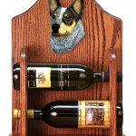 Australian Cattle Dog Wood Dog Wood Wine Rack Bottle Holder Figure Blu 1