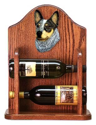 Australian Cattle Dog Wood Dog Wood Wine Rack Bottle Holder Figure Blu