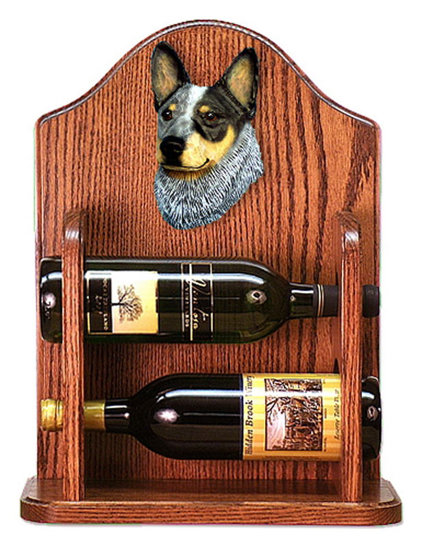 Australian Cattle Dog Wood Dog Wood Wine Rack Bottle Holder Figure Blu
