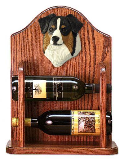 Australian Shepherd Dog Wood Wine Rack Bottle Holder Figure Blk Tri 1