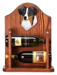 Australian Shepherd Dog Wood Wine Rack Bottle Holder Figure Blu