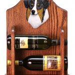Australian Shepherd Dog Wood Wine Rack Bottle Holder Figure Blu 1