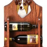 Australian Shepherd Dog Wood Wine Rack Bottle Holder Figure Red 1