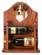 Australian Shepherd Dog Wood Wine Rack Bottle Holder Figure Red