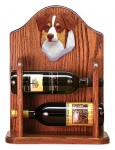 Australian Shepherd Dog Wood Wine Rack Bottle Holder Figure Red Tri