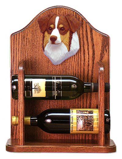 Australian Shepherd Dog Wood Wine Rack Bottle Holder Figure Red Tri 1