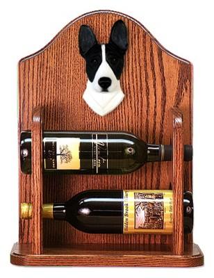 Basenji Dog Wood Wine Rack Bottle Holder Figure Blk/Wht