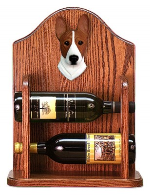 Basenji Dog Wood Wine Rack Bottle Holder Figure Red/Wht