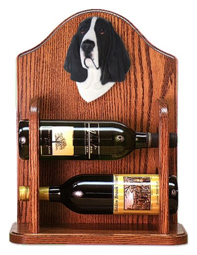 Basset Hound Dog Wood Wine Rack Bottle Holder Figure Blk/Wht 1
