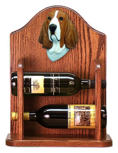 Basset Hound Dog Wood Wine Rack Bottle Holder Figure Red/Wht 1
