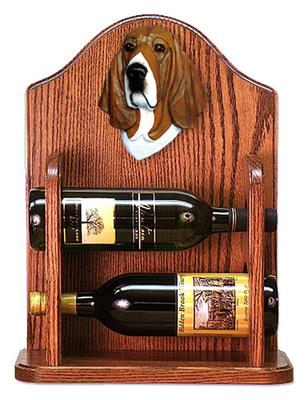 Basset Hound Dog Wood Wine Rack Bottle Holder Figure Tri