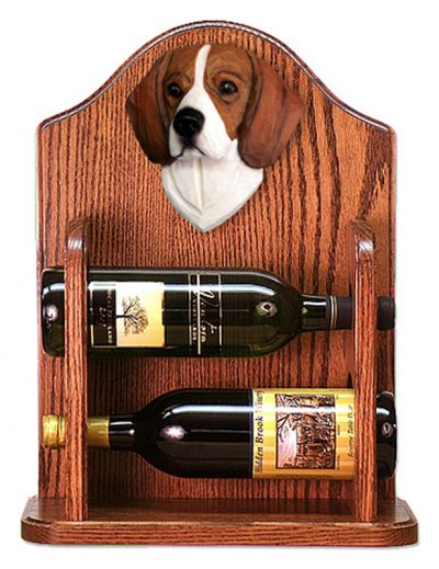 Beagle Dog Wood Wine Rack Bottle Holder Figure Tri 1