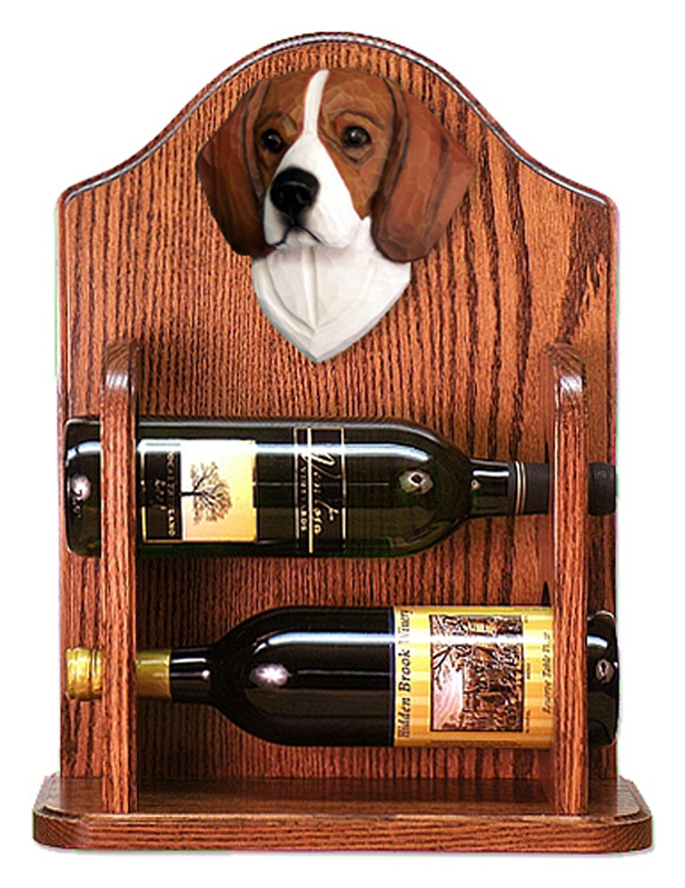 Beagle Dog Wood Wine Rack Bottle Holder Figure Tri