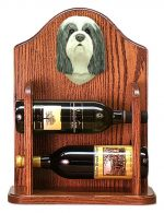 Bearded Collie Dog Wood Wine Rack Bottle Holder Figure Blu/Wht