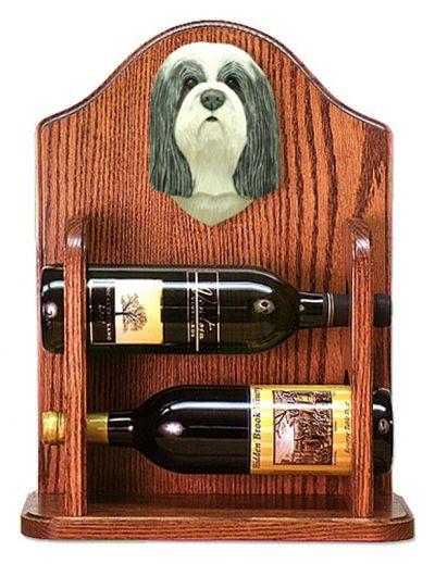 Bearded Collie Dog Wood Wine Rack Bottle Holder Figure Blu/Wht 1