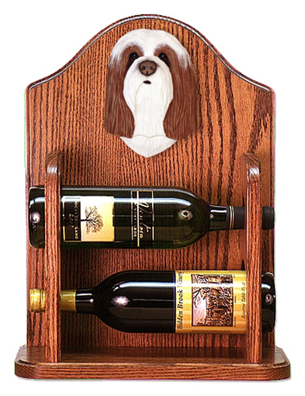 Bearded Collie Dog Wood Wine Rack Bottle Holder Figure Brn/Wht