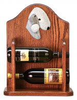Bedlington Terrier Dog Wood Wine Rack Bottle Holder Figure Blu