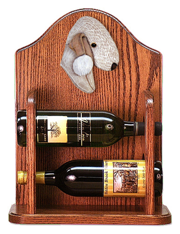 Bedlington Terrier Dog Wood Wine Rack Bottle Holder Figure Liver