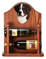 Bernese Mt. Dog Wood Dog Wood Wine Rack Bottle Holder Figure
