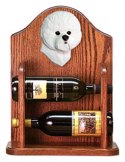 Bichon Frise Dog Wood Wine Rack Bottle Holder Figure 1
