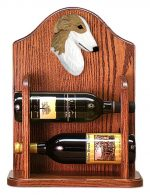 Borzoi Dog Wood Wine Rack Bottle Holder Figure Bi