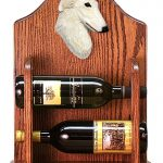 Borzoi Dog Wood Wine Rack Bottle Holder Figure Cream 1