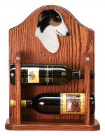 Borzoi Dog Wood Wine Rack Bottle Holder Figure Tri