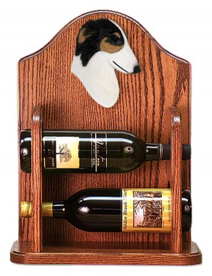 Borzoi Dog Wood Wine Rack Bottle Holder Figure Tri 1