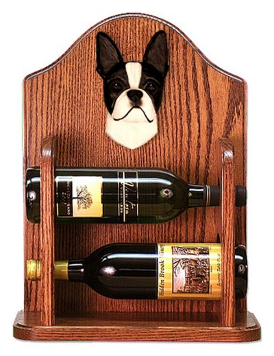 Boston Terrier Dog Wood Wine Rack Bottle Holder Figure Blk 1