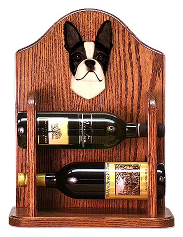 Boston Terrier Dog Wood Wine Rack Bottle Holder Figure Blk