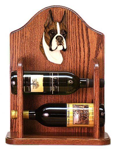 Boxer Dog Wood Wine Rack Bottle Holder Figure Brin 1
