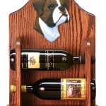 Boxer natural Dog Wood Wine Rack Bottle Holder Figure Brin 1